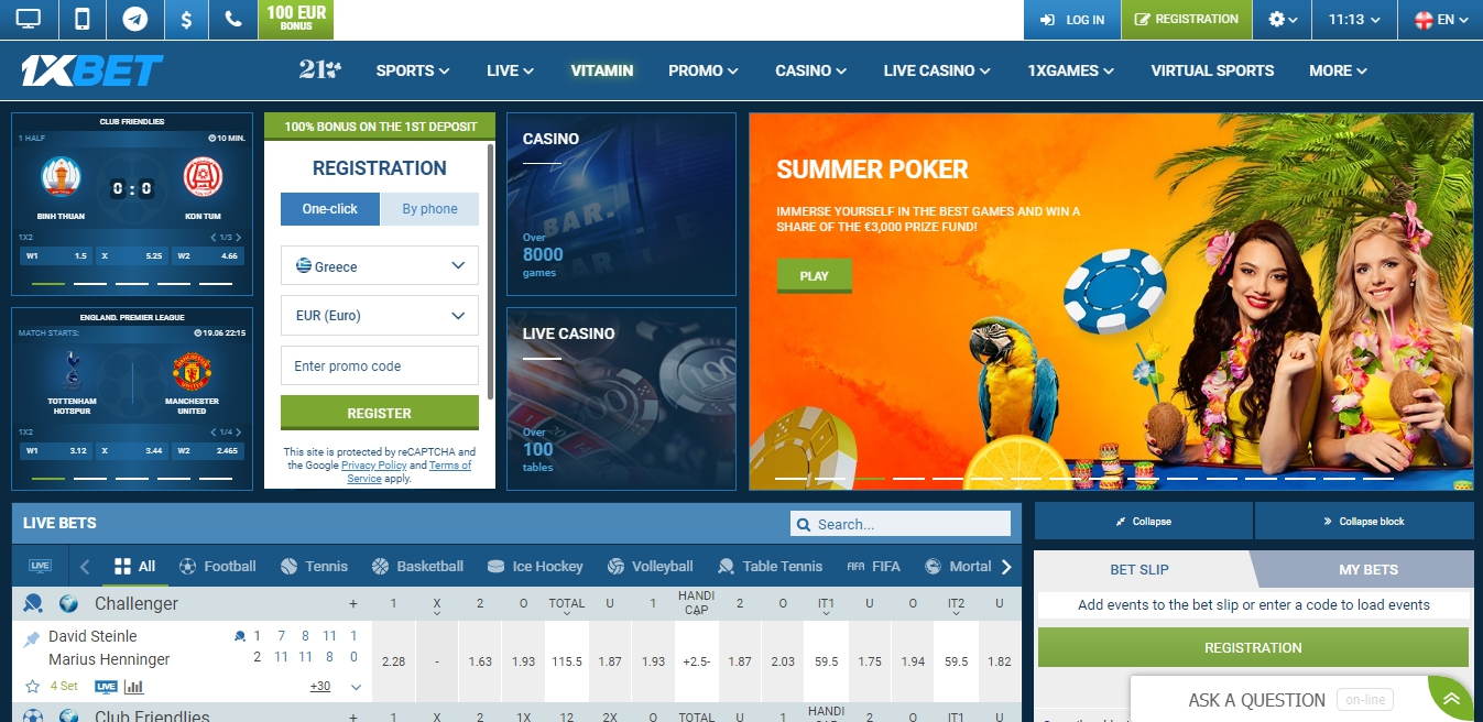1xBet Live betting on sports and Live stream.