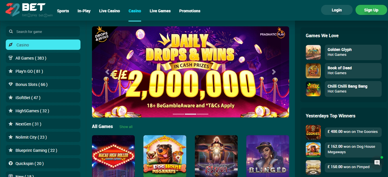 Review of 22Bet online odds.