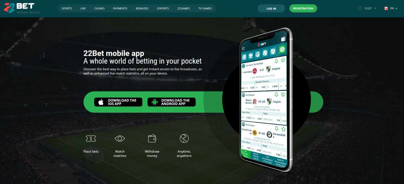 22bet app Android
